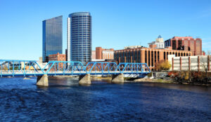 A skyline of Grand Rapids during the daytime. Trust Voisard as your personal financial advisor.