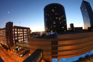 A view of the JW Mariott Hotel in Grand Rapids, Michigan at daybreak. Read more financial planning articles here.