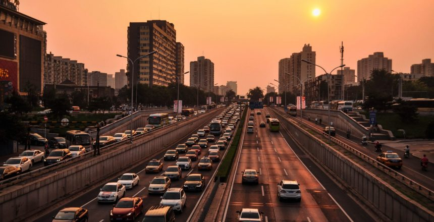 A busy freeway in an urban environment. Michigan PIP reform now affects all drivers under its Personal Injury Protection umbrella.